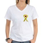 Support our Troops Yellow Ribbon Women's V-Neck T