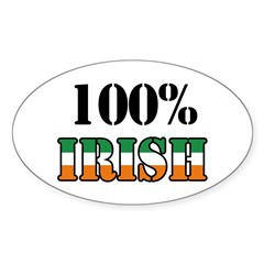 100 Percent Irish T-Shirts Sticker (Oval)
