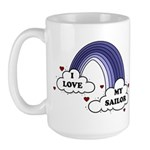 I Love My Sailor Navy Rainbow Large Mug