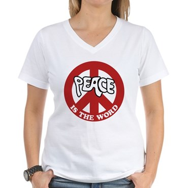 Peace is the word Women's V-Neck T-Shirt