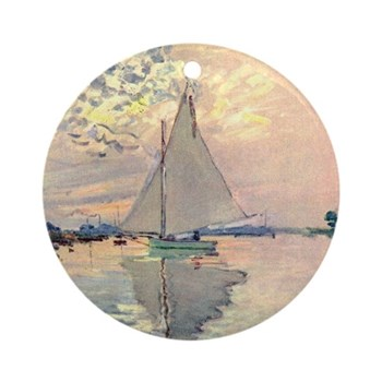 Sailing Ship by Monet Round Ornament