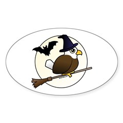 Birdorable Bald Eagle Witch Sticker (Oval)