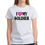 I Love (pink heart) My Soldier Women's T-Shirt