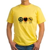 Peace Love Dive Yellow T-Shirt