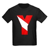 Scuba Flag Letter Y Kids Dark T-Shirt