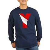 Scuba Flag Letter Y Long Sleeve Dark T-Shirt