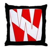 Scuba Flag Letter W Throw Pillow