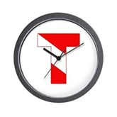 Scuba Flag Letter T Wall Clock