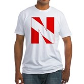 Scuba Flag Letter N Fitted T-Shirt