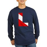 Scuba Flag Letter L Long Sleeve Dark T-Shirt