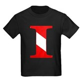 Scuba Flag Letter I Kids Dark T-Shirt