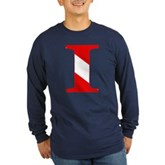 Scuba Flag Letter I Long Sleeve Dark T-Shirt