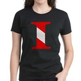 Scuba Flag Letter I Women's Dark T-Shirt