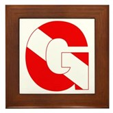Scuba Flag Letter G Framed Tile