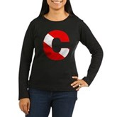 Scuba Flag Letter C Women's Long Sleeve Dark T-Shi