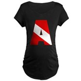 Scuba Flag Letter A Maternity Dark T-Shirt
