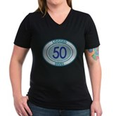 50 Logged Dives Women's V-Neck Dark T-Shirt