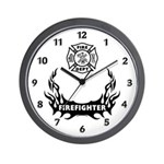 Fire Dept Tattoos Wall Clock