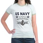 Navy Boyfriend Defending Free Jr. Ringer T-Shirt