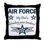 Air Force Dad defending Throw Pillow