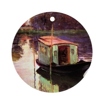 Studio Boat by Monet Round Ornament