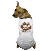 This dog shirts says Another Collie For Obama, backed by a big dog paw print. A cute t-shirt for your Collie to wear, out on a walk or at your next political rally! Support Barack Obama for President!