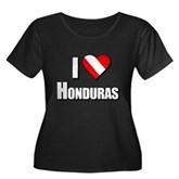 Scuba: I Love Honduras Women's Plus Size Scoop Nec