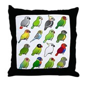 16 Birdorable Parrots Throw Pillow
