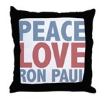 Peace Love Ron Paul Throw Pillow