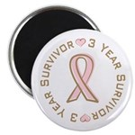"3 Year Breast Cancer Survivor 2.25"" Magnet (100 pa"