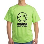 Obama Makes Me Smile Green T-Shirt