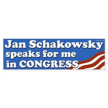 Jan Schakowsky Speaks for Me Bumper Sticker (Congressional Campaign Decal for the re-election of Janice Schakowsky to the U.S. House of Representatives)