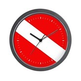 Scuba Flag (white lines) Wall Clock