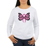 Breast Cancer Butterfly Women's Long Sleeve T-Shirt