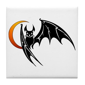 Vampire Bat & Moon Tile Coaster