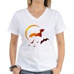 Flying Vampire Bats Women's V-Neck T-Shirt