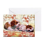 Retro Cavalier King Charles Spaniel Greeting Cards