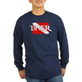 Pirate-style Diver Flag Long Sleeve Dark T-Shirt