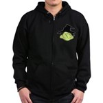 Happy Green Witch Zip Hoodie (dark)