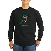 Green Kingfisher Long Sleeve Dark T-Shirt