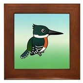 Green Kingfisher Framed Tile
