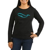Stylized Sperm Whale Women's Long Sleeve Dark T-Sh