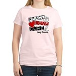 PEACE LOVE CURE Lung Cancer Women's Light T-Shirt