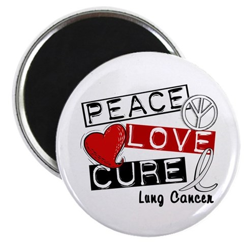 PEACE LOVE CURE Lung Cancer (L1) Magnet