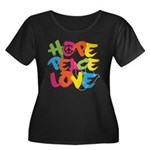 Hope Peace Love Women's Plus Size Scoop Neck Dark T-Shirt