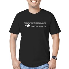 Screw the Cheerleader - Save the Whales Men's Fitted T-Shirt (dark)