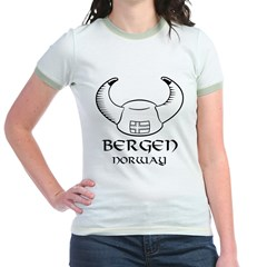 Bergen Norway Viking Hat (B&W) Jr. Ringer T-Shirt