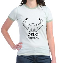 Oslo Norway Viking Hat (B&W) Jr. Ringer T-Shirt