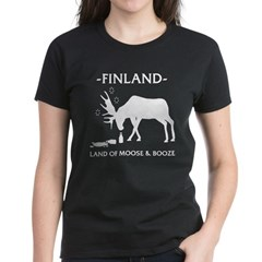 Women's Dark T-Shirt Land of Moose and Booze from the Metal From Finland Shop