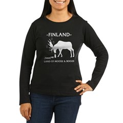 Women's Long Sleeve Dark Land of Moose and Booze from the Metal From Finland Shop
